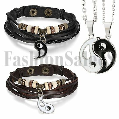 4pcs Men's Women's Tai Chi Yin Yang Beaded Leather Promise Neckalce Bracelet Set