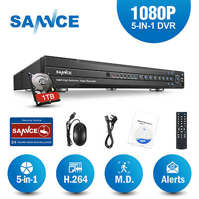 SANNCE 16CH 1080P 5in1 Video Security DVR with 1TB HDD Home Surveillance Motion