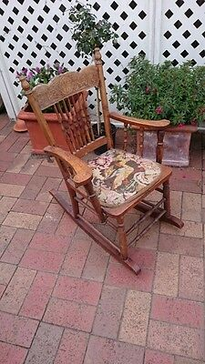 Antique Children's Spindle Back Wooden Rocking Chair