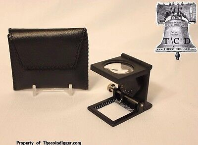 10x Folding Pocket Magnifier Scale LED Magnifying Glass Sports Cards Autographs