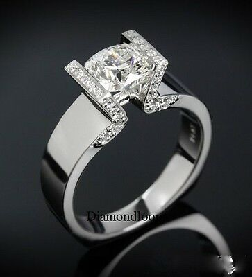 1.60Ct Off White Moissanite Antique Engagement Wedding Ring 925 Sterling Silver