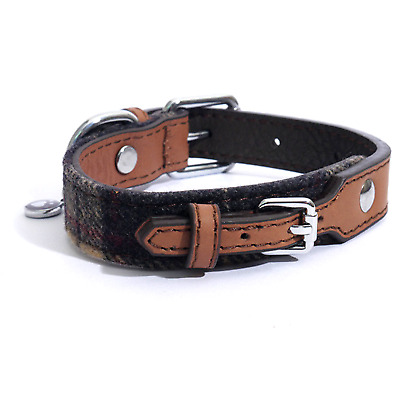 Rosewood Luxury Leather Designer Soft Tweed Check Dog Collars Leads Size Choice