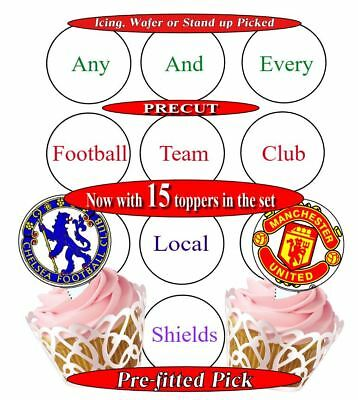 15 Football Club FC all clubs available edible cupcake toppers precut 2 sizes
