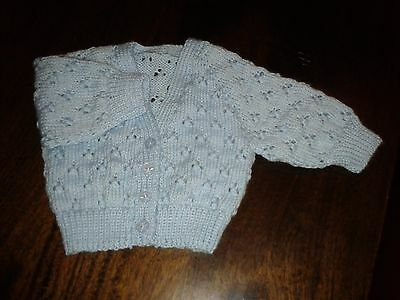 Babies Blue Handknitted Lace Cardigan. Size 000.great Gift. Gorgeous.