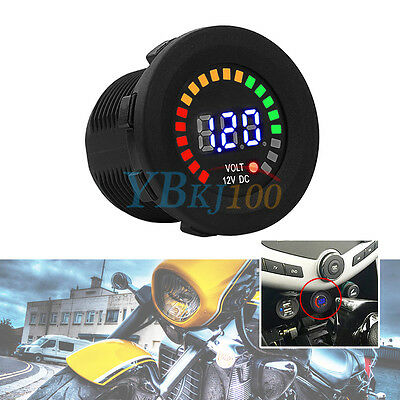 Motorcycle Motorbike Car LED Digital Display Voltmeter Waterproof Voltage Gauge