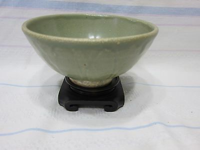 Celadon Ming dynasty footed bowl with stand.