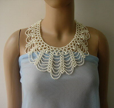 SB270 Faux Pearl Beaded Woven Collar Necklace Dress Embellishment
