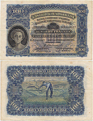Switzerland, 100 Franken 1943, 2.12.1943, Pick 35q, VF