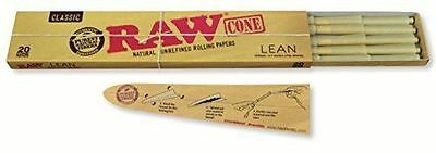 RAW Classic Natural Unrefined Pre Rolled Cones - 20 Cones Per Pack - Lean Size