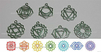 Chakra Reiki Talisman Charms in Velveteen Carry Bag 7pcs Goldtone - FREE POST AU