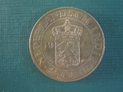 Cent Two & Half Lion Crest Netherlands Colony Dutch INDIA 1945 Dutch India Coin