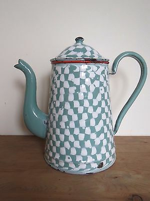 Antique French green droopy check graniteware coffee pot water boiler