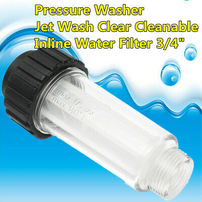 "Pressure Washer Jet Wash In Line Water Filter Cleanable 3/4"" M X F For Karcher K"