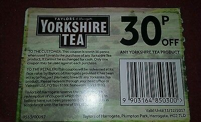 Yorkshire tea 30p off coupons x 10
