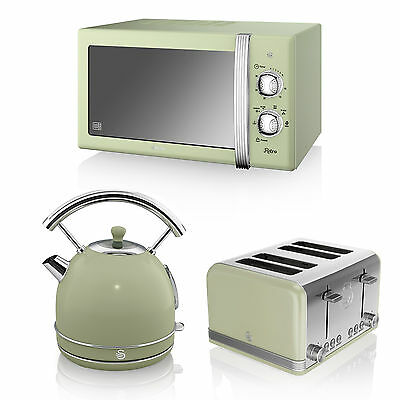 Swan Green Microwave 20L 800w, Retro Dome Kettle 3kW 1.7L & 4 Slice Toaster Set