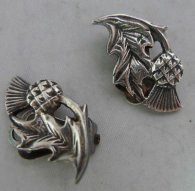 Vintage Scottish Silver Clip On Thistle Earrings By John Hart Iona 2.2cm A599417