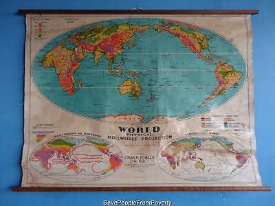1950s VINTAGE SCHOOL WORLD WALL MAP CHART PHYSICAL MOLLWEIDES PROJECTION SCALLY