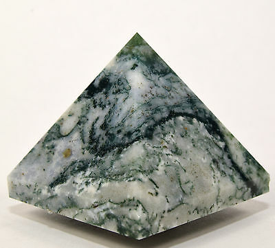 "2"" Natural Green / White MOSS AGATE Pyramid Gemstone Crystal Mineral from India"