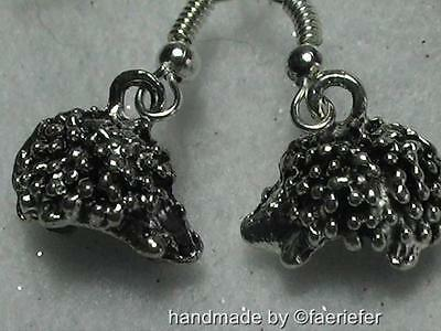 Gorgeous 3D hedgehog earrings silver plated so cute french ear wires animal gift