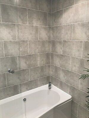Cutline Grey Tile Effect Bathroom Wall Panels PVC Shower Wet Wall Cladding