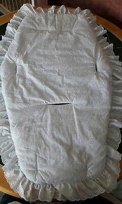 white broderie anglaise fabric buggy/pram liner