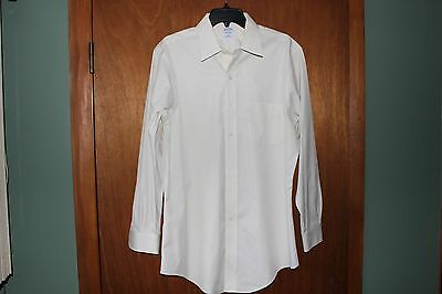 Men's Brooks Brothers Slim Fit Non-Iron Ivory Long Sleeve Size 16-33