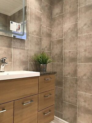 Cutline Beige Tile Effect Wall Panels PVC Bathroom Cladding Shower Wet Wall