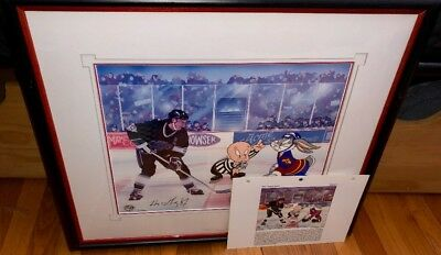 "Warner Brothers Wayne Gretzky signed Cel ""THE GREAT ONES""Rare Edition cell COA"