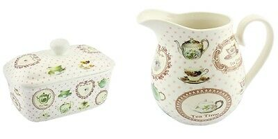 Tea Time - Fine China Butter Dish + Milk Jug-With vintage teapots design-Boxed