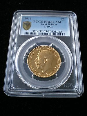 Rare 1911 King George V Proof Gold Two Pound £2 Coin Pcgs Pr63Cam