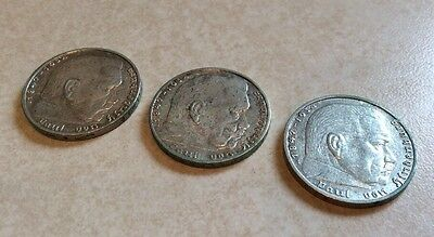 1939 Nazi 2 Mark Swastika German Germany Silver Coin  LOT OF 3 -