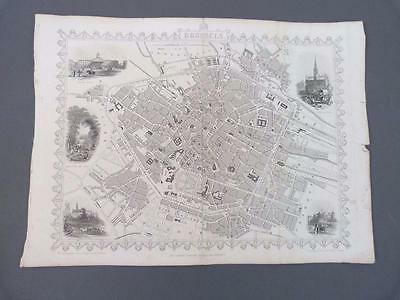 Antique map of Brussels by J Rapkin, c 1851 Carte de Bruxelles