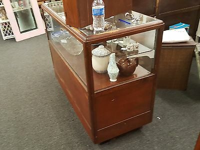Antique Oak and glass store display counter