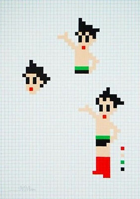 Invader limited edition print Astro Boy signed and numbered