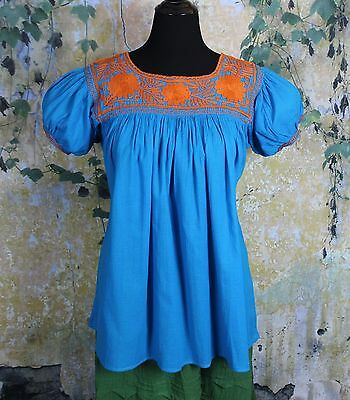 Fine Turquoise & Pink Hand Embroidered Blouse Chiapas Mexico Peasant Hippie Boho