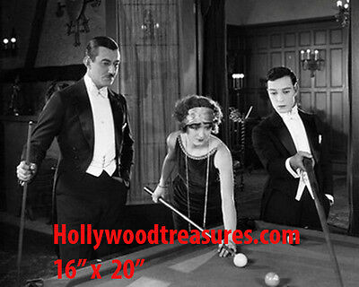 "Buster Keaton~Silent Film~Shooting Pool~Hall~Billiards~Poster~16"" x 20"" Photo"