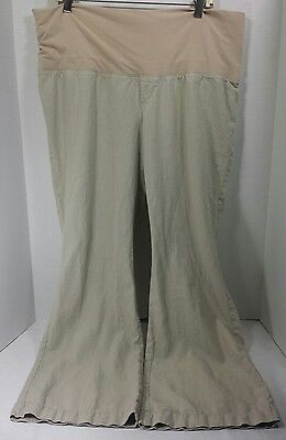 Old Navy Maternity Ivory Khaki Casual Career Work Pants Linen Sz Large 30 Inseam
