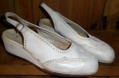 Vintage 40S 1940S Original Low Wedge Slingback Sandals Shoes S 4 Wwii Rockabilly