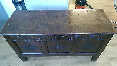 Large antique 18th century oak coffer box chest side board carved 300 years old