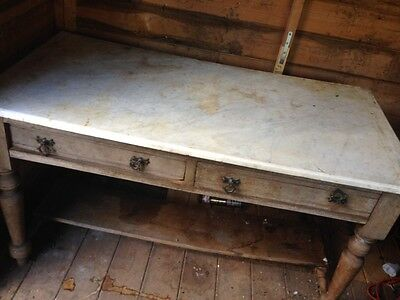 Beautiful old vintage  solid oak kitchen table work desk Marble top
