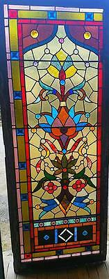 Large Antique Stained Glass Window With Jewels - Door Size