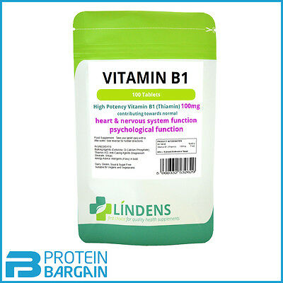 Vitamin B1 Thiamin 100mg - 100 Tablets Mosquito Repellent Supplement (Lindens)