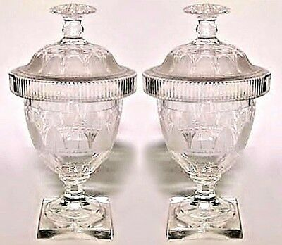 Pair of English Adam Style (19th Cent) Etched Crystal Urns