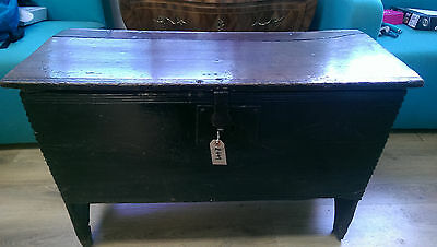 Antique 17th/18th Century oak coffer box chest opening to reveal a candle box