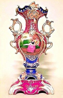 Pair of French Victorian Jacob Petit Style Porcelain Red, White and Blue Vases
