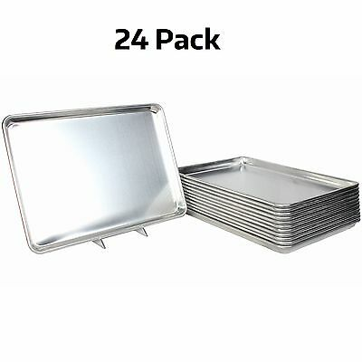 "24 PACK Full Size Aluminum 18"" x 26"" Bun Sheet Baking Pan Wire in Rim Commercial"