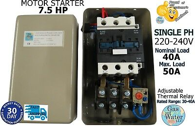 MAGNETIC STARTER 7.5 HP MOTOR CONTROL Single Phase 220/240V 30-40A+on/off switch