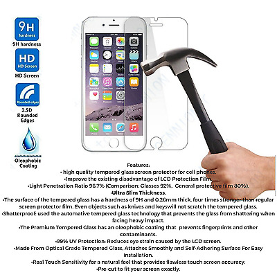 50 X iPhone 6s plus 6 plus High quality Glass Screen Protector Ultra Thin- Bulk