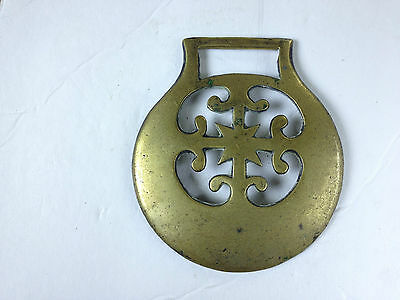 """Horse Brass Casted  3 1/4"""" Diameter  With A Cross Vintage"""