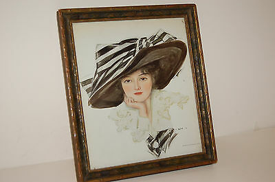 Woman in Large Hat Advertisment from 1911with Picture Frame